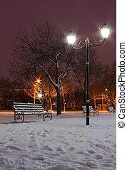 rua, parque, lanterna