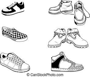 rua, sapatos, homens