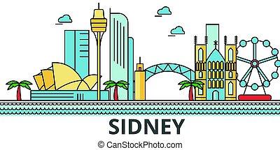 ruas, panorama, edifícios, arquitetura, strokes., landmarks., silueta, desenho, cidade, paisagem, sidney, ícones, concept., isolado, skyline., branca, apartamento, editable, ilustração, fundo, linha, vetorial
