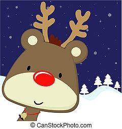 rudolph, cartão cumprimento, natal