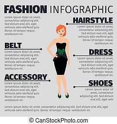 ruivo, mulher, infographic, moda