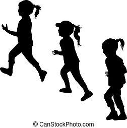 running., silhuetas, crianças