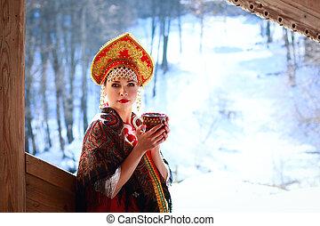russo, menina, kokoshnik