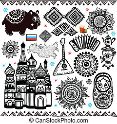 russo, símbolos, jogo, folcloric