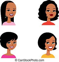 série, avatar, caricatura, mulher, africano