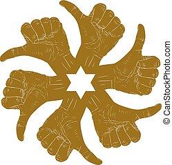 símbolo, abstratos, cima, hexagonal, polegar, seis, redondo, sinais mão