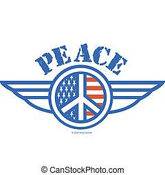 símbolo americano, paz, bandeira, sinal