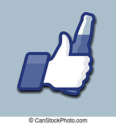 símbolo, cima, garrafa cerveja, like/thumbs, ícone