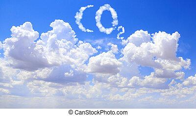 símbolo, co2, nuvens