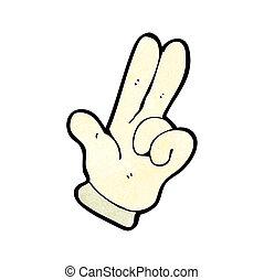 símbolo, contagem, mão