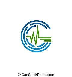 símbolo, desenho, fundo branco, médico, pulso, ícone