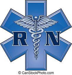 símbolo, estrela, enfermeira registrado