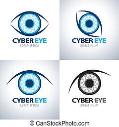 símbolo, jogo, olho, cyber, ícone