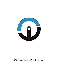 símbolo, logotipo, lar, cima, proteção, vetorial, seta