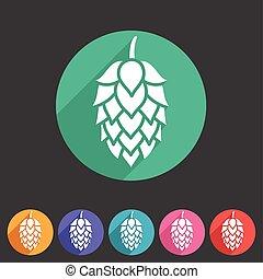 símbolo, logotipo, pulo, sinal, cerveja, apartamento, teia, ícone, etiqueta
