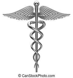 símbolo, médico, caduceus, prata