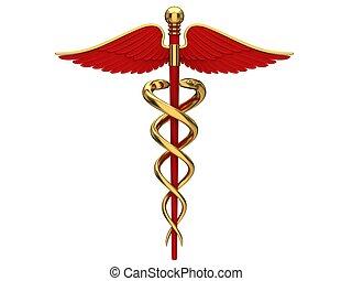 símbolo, médico, vermelho, caduceus
