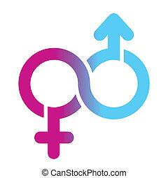 símbolo, macho, femininas, ilimitado