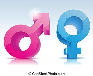 símbolo, macho, femininas