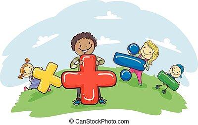 símbolo matemático, crianças, vara, segurando