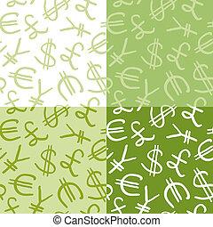 símbolo moeda corrente, seamless, padrão