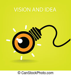 símbolo, negócio, ícone, visão, idéias, sinal, bulbo leve, olho, símbolo