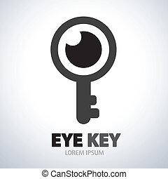 símbolo, olho, ícone chave