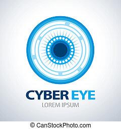 símbolo, olho, cyber, ícone