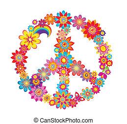 símbolo, paz, flor, coloridos