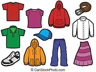 símbolo, roupa, arrojado, set.