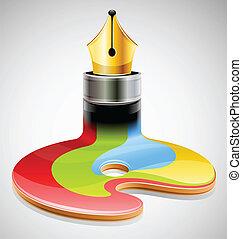 símbolo, tinta, arte, visual, caneta