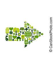 símbolo, verde, seta, ícones
