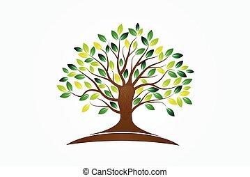 símbolo, vida, logotipo, árvore, vetorial