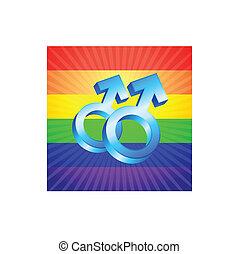 símbolos, arco íris, glowing, macho, fundo