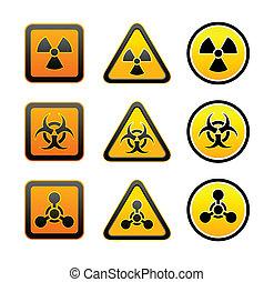 símbolos, aviso, jogo, radiação, perigo