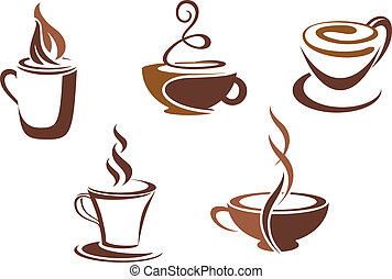 símbolos, café chá, ícones