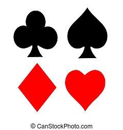 símbolos, cartão jogando