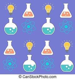 símbolos, ciência, sobre, seamless, experiência., pattern., roxo