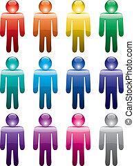 símbolos, coloridos, homem