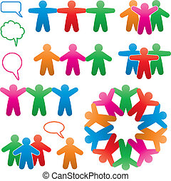 símbolos, coloridos, jogo, vetorial, human, fala