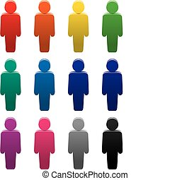 símbolos, coloridos, pessoas