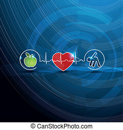 símbolos, conceito, cardiologia, saudável, luminoso, vivendo