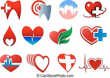 símbolos, doação, odontologia, sangue, cardiologia