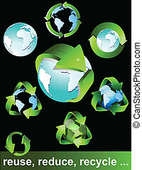símbolos, eco, verde, bio, recicle