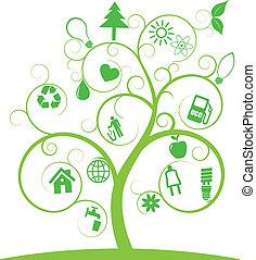 símbolos, ecologia, árvore, espiral