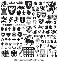 símbolos, elementos, heraldic