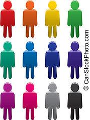 símbolos, jogo, coloridos, pessoas