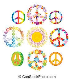 símbolos, jogo, paz, coloridos