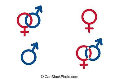 símbolos, jogo, tradicional, vetorial, femininas, macho