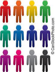 símbolos, macho, coloridos